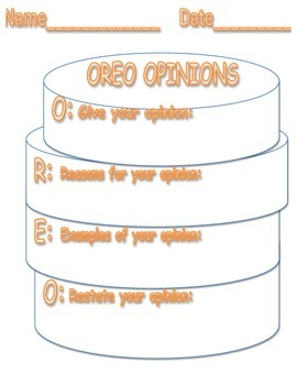Oreo Opinions Writing Graphic Organizer Easy Reusable Generic