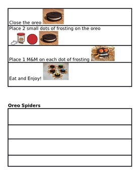 Oreo Spiders Comprehension and Sequencing