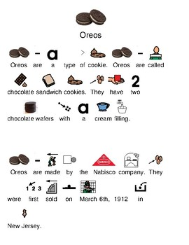 Oreo - picture supported text and questions with visuals - chocolate cookie