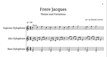 "Orff Arrangement - Theme and Variations on ""Frere Jacques"""