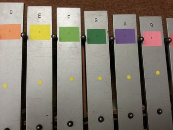 Orff Instrument Bar Labels with Boomwhacker Colors