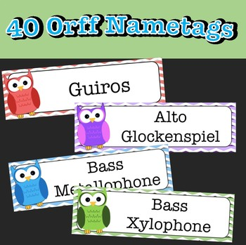 Orff Instrument Labels: Owls