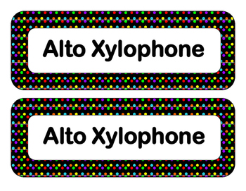 Orff Instrument Labels-Polka Dot