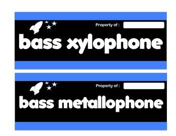 Orff Instrument Labels - Rocket Theme (blue)