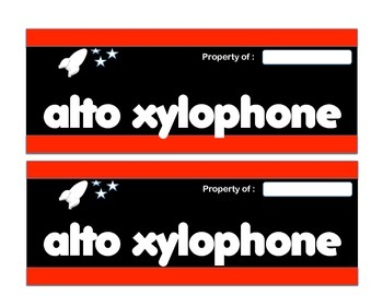 Orff Instrument Labels - Rocket Theme (red)