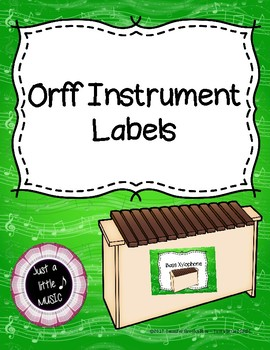 Orff Instrument Labels for Barred Classroom Instruments