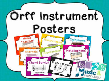 Orff Instrument Posters- Bright Solid Background