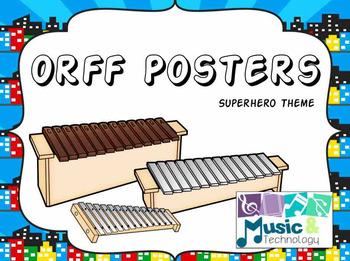 Orff Instrument Posters- Superhero Theme