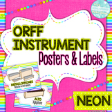 Orff Instrument Posters and Labels: Neon