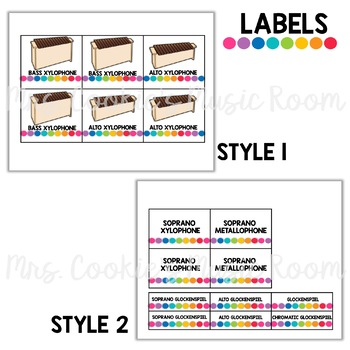 Orff Instrument Posters and Labels: Rainbow Dots Theme