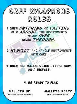Orff Instrument Rules Poster- Superhero Theme