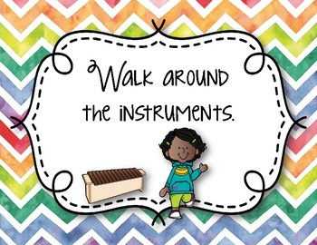 Orff Instrument Rules Posters - Multi-color Watercolor Chevron