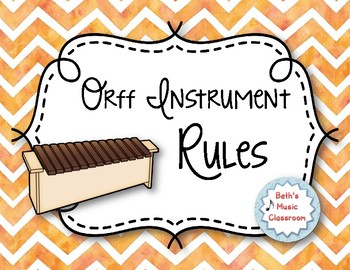 Orff Instrument Rules Posters - Orange Watercolor Chevron