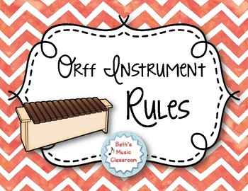 Orff Instrument Rules Posters - Red Watercolor Chevron