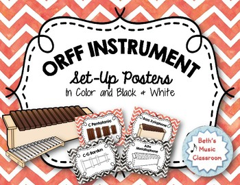 Orff Instrument Set-up Posters - Red Watercolor Chevron