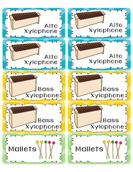 Orff Instruments Labels Avery Labels 10 per sheet Stickers