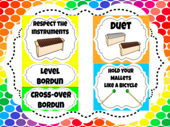Orff Instruments Posters, Labels, Set-Ups & Rules - Rainbow Theme