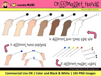 Orff/Mallet Hands Clipart - Commercial Use OK