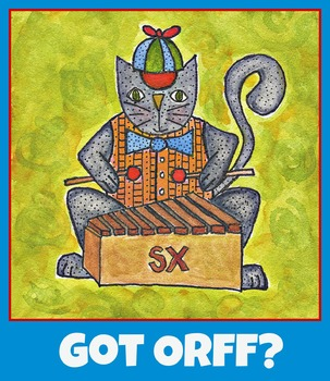 Orff poster, music poster, xylophone, cat playing xylophone, music clipart