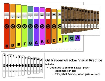 "Orff / Boomwhacker Visual (8.5x11"" Print, Letter Name on Top)"