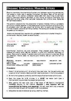 Organic Chemistry Part E - The Experiments!