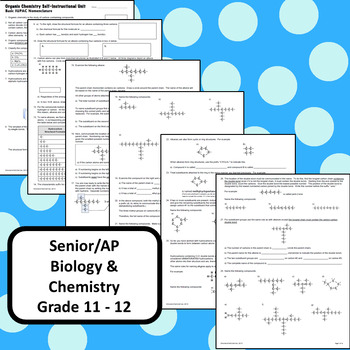 Organic Chemistry IUPAC Nomenclature Self Guided Unit High School Chemistry