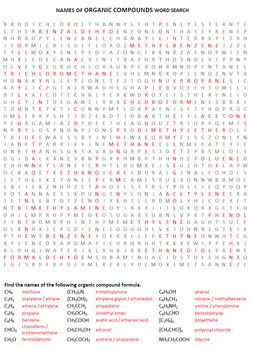 Organic Chemistry Word Search Activity