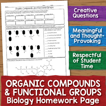 Organic Compounds And Functional Groups Biology Homework Worksheet