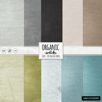 Organic Solid Digital Papers, Lightly Textured Card Stock