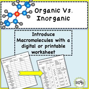 Organic Vs. Inorganic? Homework or Classwork
