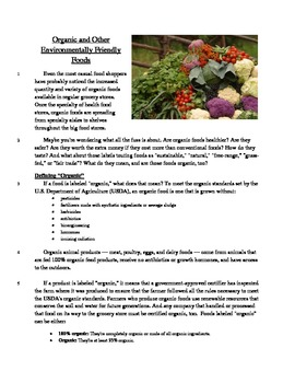 Organic and Environmentally Friendly - Informational Text Test Prep