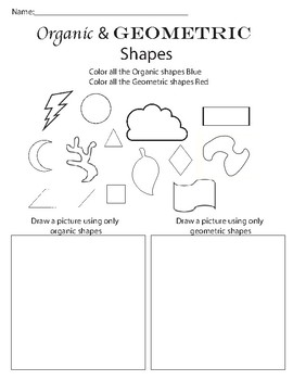 organic and geometric shape worksheet by artsy connections tpt. Black Bedroom Furniture Sets. Home Design Ideas