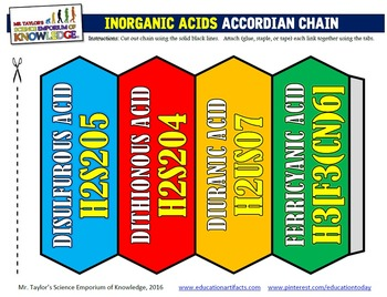 Organic and Inorganic Acids Accordian Foldable