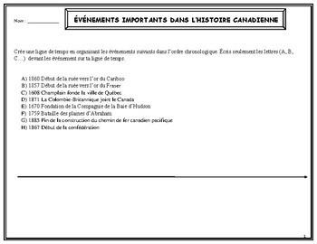 Organisation de l'information dans une ligne de temps, French Immersion