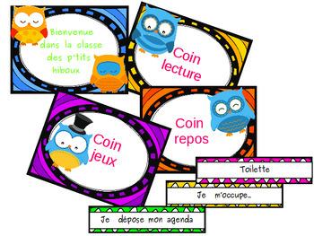 Organisation de la classe: hiboux