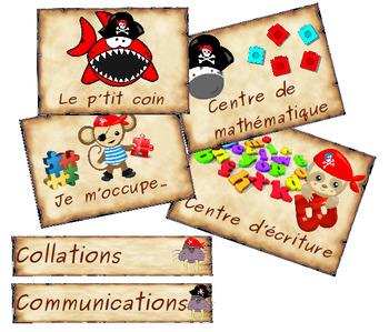 Organisation pour la classe:  le p'tits pirates animaux