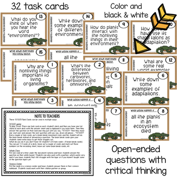Organisms & Their Environments Scoot Game/Task Cards