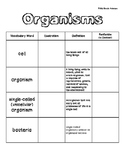 Organisms Vocabulary Book - 5th Grade
