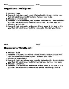 Organisms Web Quest