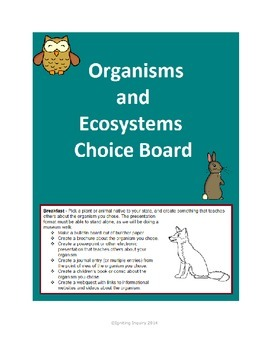 Organisms and Ecosystems Choice Board
