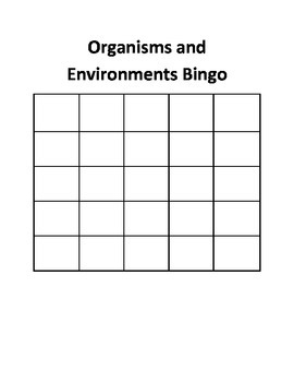 Organisms and Environment Bingo