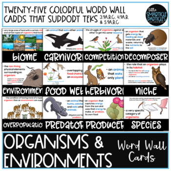 Organisms and Environments Word Wall Cards