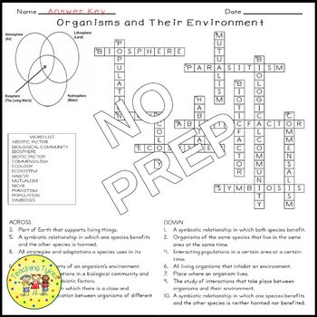 Organisms and Their Environment Biology Science Crossword Coloring Middle School