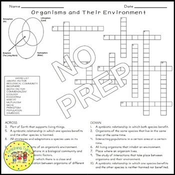 Organisms and Their Environment Crossword Puzzle