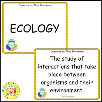 Organisms and Their Environment Vocabulary Cards