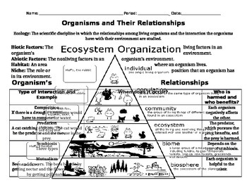 Organisms and Their Relationships Notes