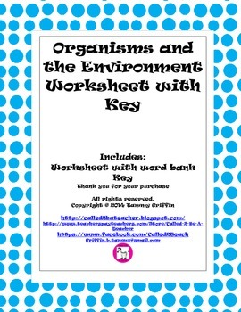 Organisms And The Environment Worksheet with Key