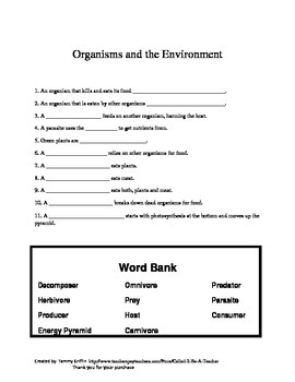 organisms and the environment worksheet with key by called. Black Bedroom Furniture Sets. Home Design Ideas