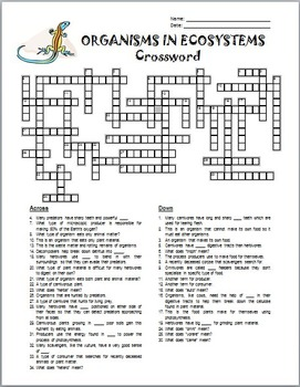 Organisms in Ecosystems - Crossword {Editable}