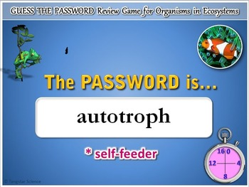 Organisms in Ecosystems - Password Terminology Review Game {Editable}